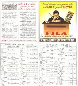1950 circa FIRENZE Matite FILA Pastelli GIOTTO Formulario geometria ILLUSTRATO