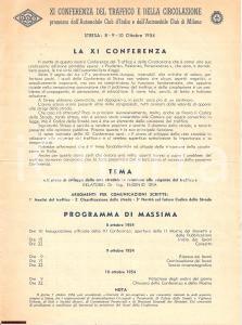 1954 STRESA VB XI Conferenza Traffico Circolazione ACI