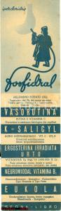 1940 ca Aziende chimiche ANGELINI Segnalibro FOSFIDRAL