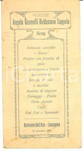1930 CASSOLNOVO (PV) Menù ristorante BELL'ARIA Nozze GRUMELLI - LUPPOLO