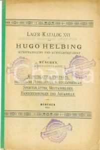 1892 MUNCHEN (DE) XVI Lagerkatalog Hugo HELBING Porträts Kunstblätter