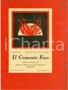 1930 TRIESTE Società Istriana Cementi Conglomerati DURAPID Rivista Cemento Fuso