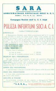 1949 PADOVA Assicuratrice SARA Campagna sociale A.C.I. Polizza infortuni