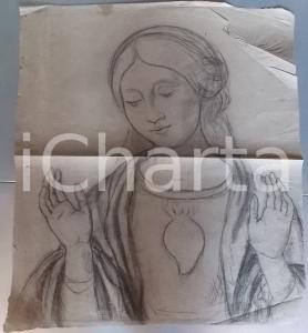 1930 ca ANONIMO Ritratto Vergine MARIA SACRO CUORE *Disegno a carboncino