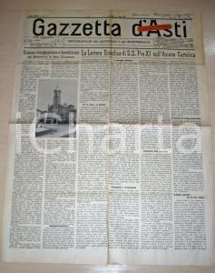 1931 GAZZETTA D'ASTI Enciclica Pio XI mons. SPANDRE