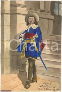 1875 Ritratto di spadaccino in costume Acquerello