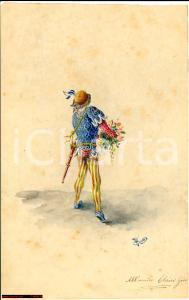 1875 ca MILANO Paggio reca mazzo fiori G. RANCI disegno