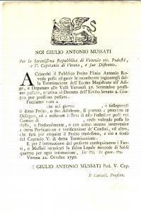 1790 VERONA Misure del perito Plinio Antonio ROVEDA *Manifesto 20 x 30