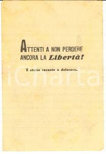 1948 ELEZIONI Attenti a non perdere ancora la libertà PROPAGANDA anti FDP