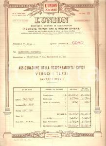 1957 COMO Compagnia anonima assicurazioni L'UNION Polizza per auto 24 x 32 cm