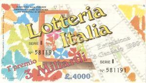 1989 LOTTERIA ITALIA Biglietto Serie I *12 x 7 cm