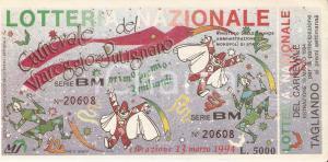 1994 LOTTERIA NAZIONALE del Carnevale di VIAREGGIO e PUTIGNANO *Biglietto