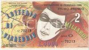 1989 LOTTERIA DI VIAREGGIO Biglietto Serie O *12 x 7 cm