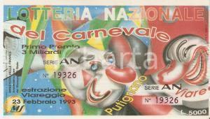 1993 VIAREGGIO Lotteria Nazionale del Carnevale Biglietto Serie AN *12 x 7 cm