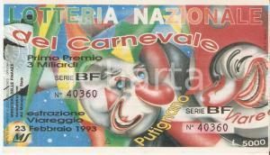 1993 VIAREGGIO Lotteria Nazionale del Carnevale Biglietto Serie BF *12 x 7 cm
