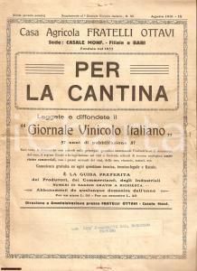 1931 Fratelli OTTAVI Rivista vinicola PER LA CANTINA