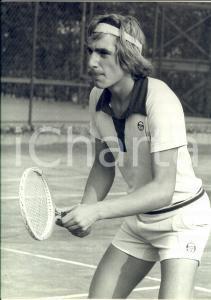 1980 ca TENNIS ITALIA Ritratto di Fabrizio DAVID in campo *Foto 24x30 cm