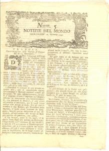 1793 VENEZIA Notizie dal Mondo - gazzetta