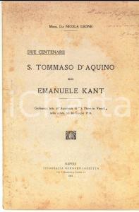 1924 Nicola LEONE Due Centenarii. S. Tommaso D'Aquino ed Emanuele Kant AUTOGRAFO