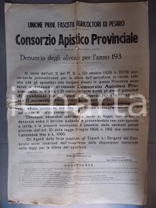 1930 ca PESARO Alveari CONSORZIO APISTICO PROVINCIALE *Manifesto DANNEGGIATO