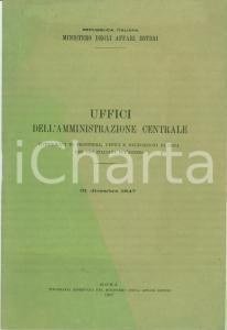 1947 ROMA MINISTERO AFFARI ESTERI Uffici Amministrazione elenco personale
