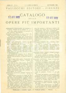 1922 FIRENZE Catalogo VALLECCHI EDITORE opere più importante