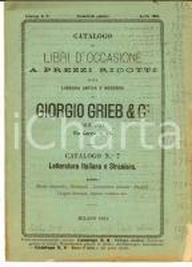 1884 MILANO Catalogo libreria Giorgio GRIEB Letteratura italiana n° 7