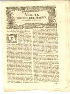 1793 NOTIZIE DEL MONDO Francia recluta uomini per l'Armata *Gazzetta n° 21