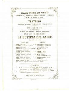 1862 TORINO Fratelli Scuole Cristiane *Locandina CARNEVALE La bottega del caffè