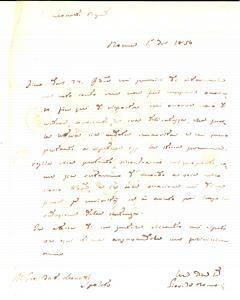 1850 ROMA Giovanni DE ROMANI insiste per il saldo del proprio conto *Lettera