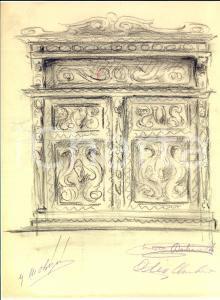 1910 ca ROMA Ernesto BASTIANELLO Bozzetto per mobile da soggiorno AUTOGRAFO