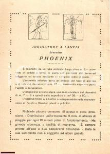 1940 ca. MILANO Bottega Robinetto Irrigatore PHOENIX