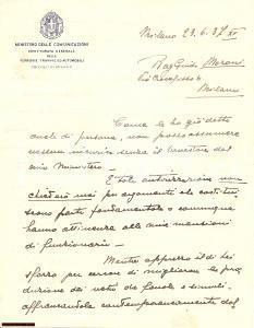 1937 MILANO Ispettore generale FERROVIE rifiuta offerta