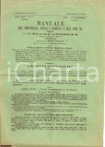 1887 MANUALE Amministratori comunali ASTENGO opuscolo