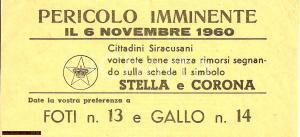 1960 SIRACUSA Elezioni amministrative STELLA E CORONA