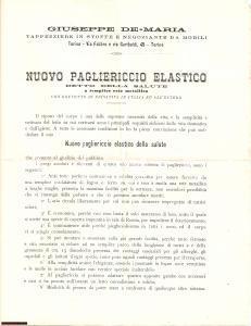1900 ca TORINO Pagliericcio elastico Giuseppe DE MARIA