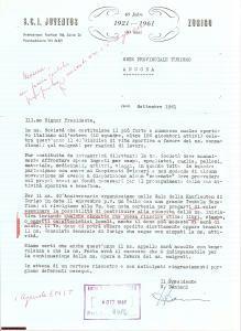 1961 ZURIGO Quarantesimo anniversario S.C.I. JUVENTUS