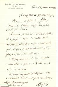 1938 COMO Antonio GIUSSANI a Mario PORZIO autografo