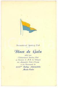 1960 Menù Rally MONTECARLO International Sporting Club