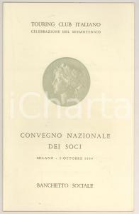 1954 MILANO Menù per il sessantennio TOURING CLUB