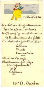 1934 Pranzo M.me André DURBEC Illustrazione da CARMEN
