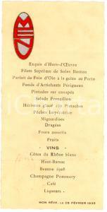 1935 MENU' d'epoca decorato MON REVE