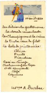 1934 Pranzo M.me André DURBEC Menù illus.con cavaliere