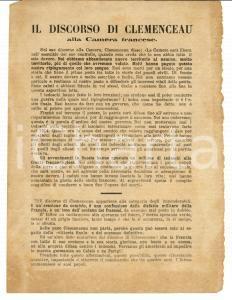 1915 WW1 Discorso di CLEMENCEAU alla Camera Volantino