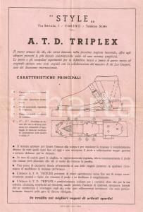 1950 ca TORINO 'STYLE' Attacco da sci A.T.D. Triplex  *Volantino pubblicitario