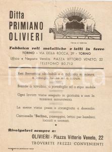 1940 ca TORINO Ditta Primiano OLIVIERI Reti e letti in ferro *Volantino