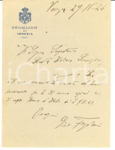 1924 Regie Gallerie di VENEZIA Autografo Gino FOGOLARI
