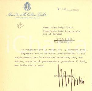 1939 MILANO Probo MAGRINI a Gian Luigi PONTI Autografo