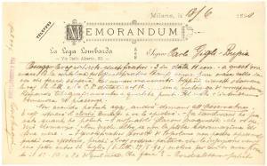 1890 MILANO LA LEGA LOMBARDA al giornalista Carlo GIGLI