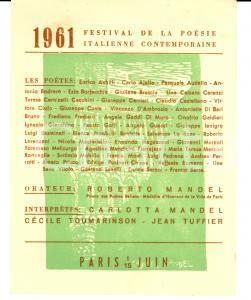 1961 PARIS Festival de Poésie Italienne Contemporaine